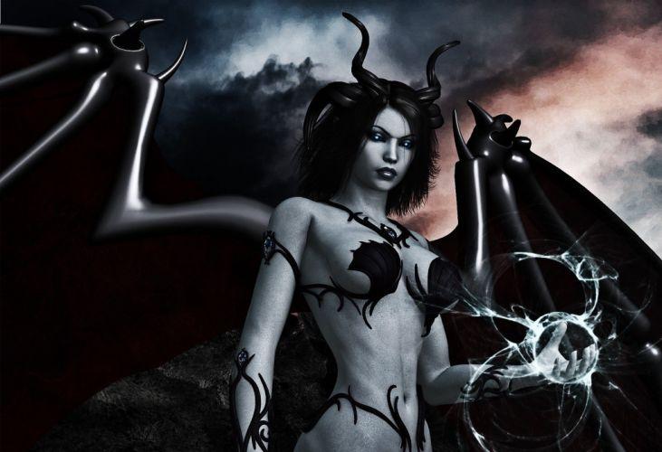 Arts dark wings horns magic demon girls black wallpaper