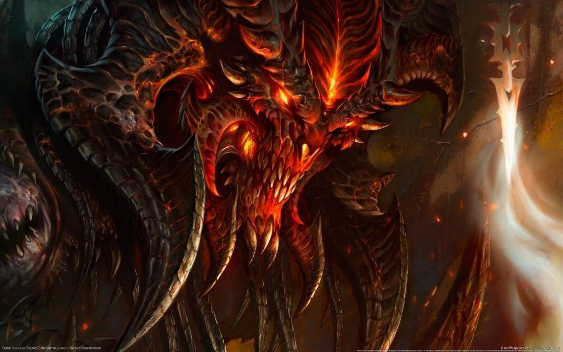 Arts demon diablo canines horns fire wallpaper