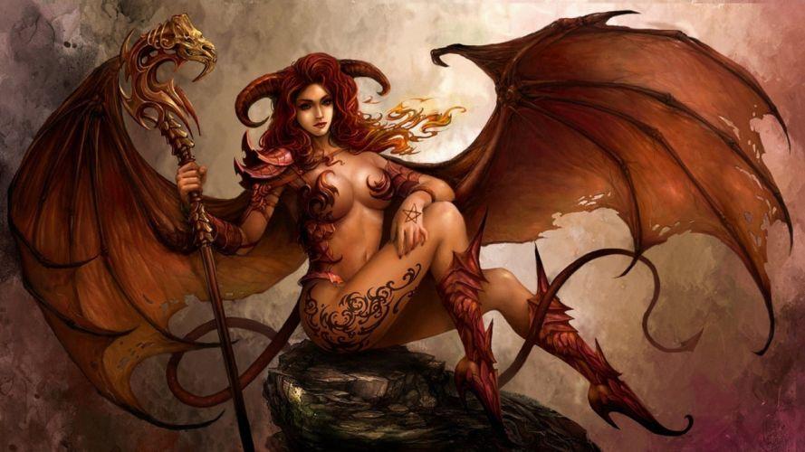 Arts demon horns staff wings girl wallpaper
