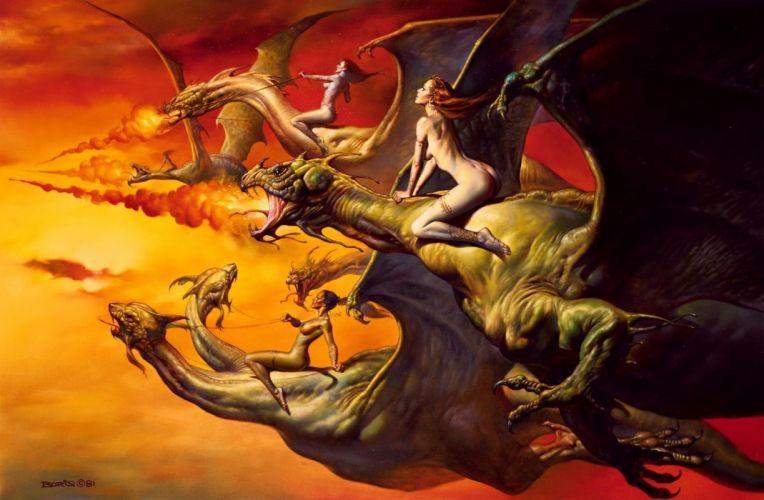 Arts dragon flight sky fantasy rider wallpaper