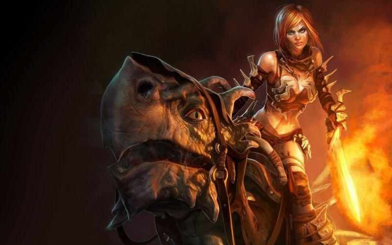 Arts dragon golden axe fire sword girls wallpaper