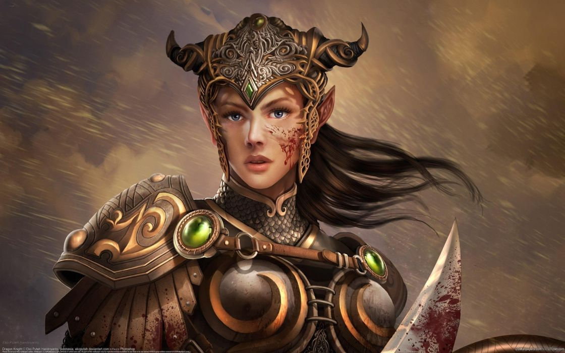Arts eko puteh handriyanto warrior girl elf armor knight blood wallpaper