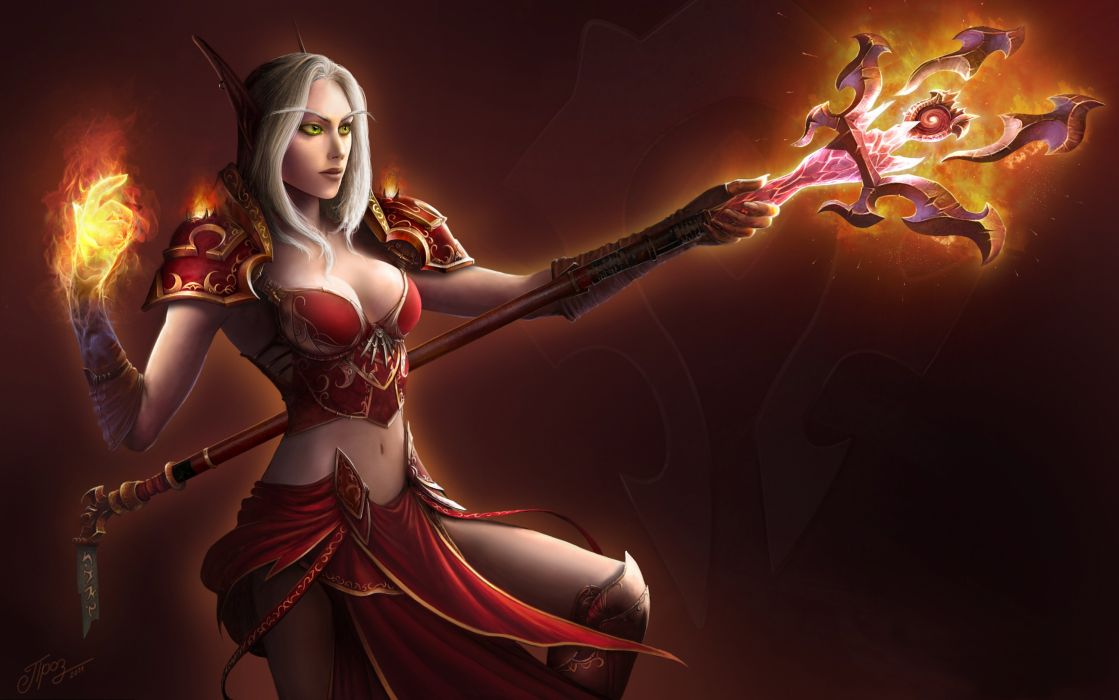 Arts elf fire world of warcraft magician blood elf wow staff girls wallpaper