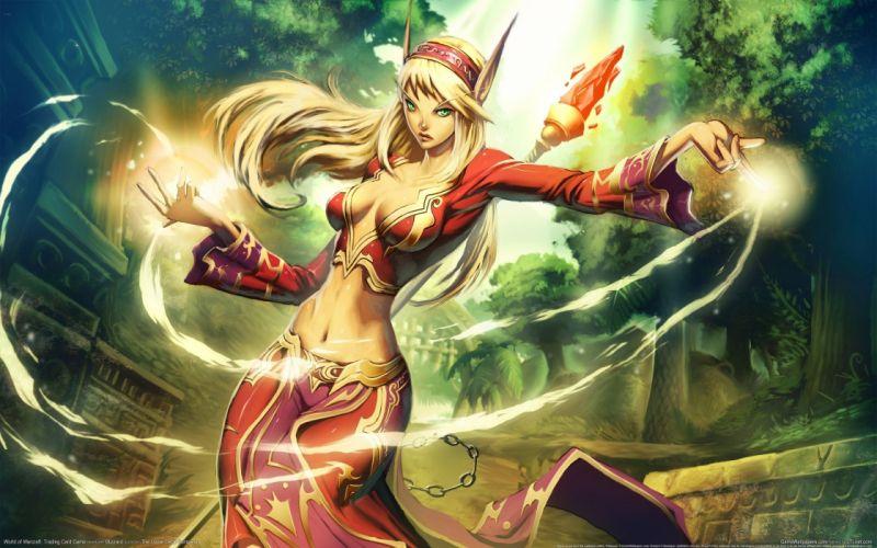 Arts elf magic world of warcraft elf staff city girls wallpaper
