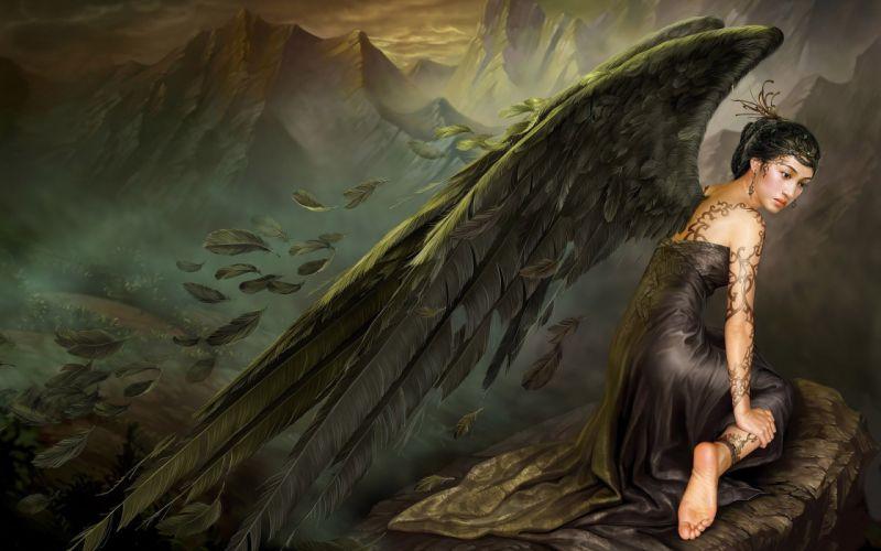 Arts feathers sadness dress angel mountains stone wings asia tattoo girls wallpaper