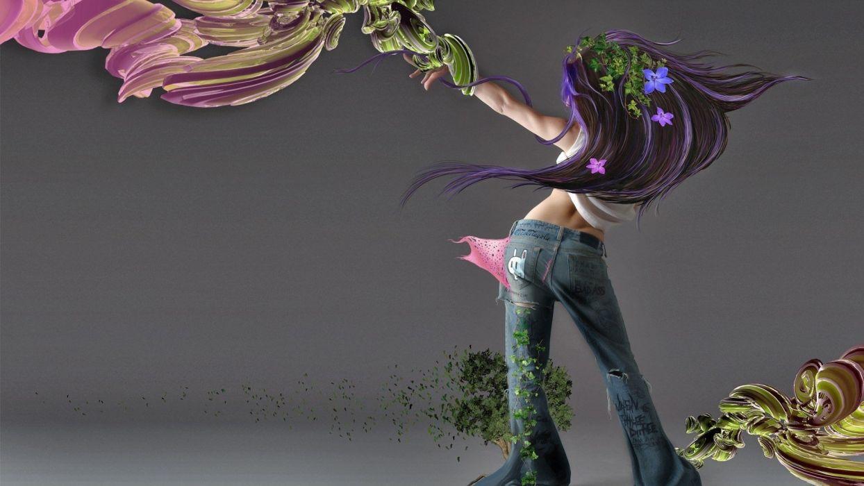 Arts figure paint jeans girld wallpaper
