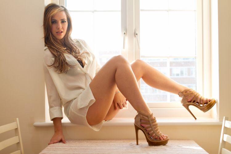 Sensuality Sophia Knightis legs shirt shoes window wallpaper