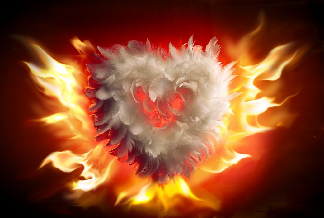 Arts fire valentines day heart love flames heart wallpaper