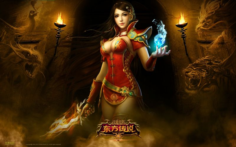 Arts flame perfect world weapons dragon tiger magic girls wallpaper