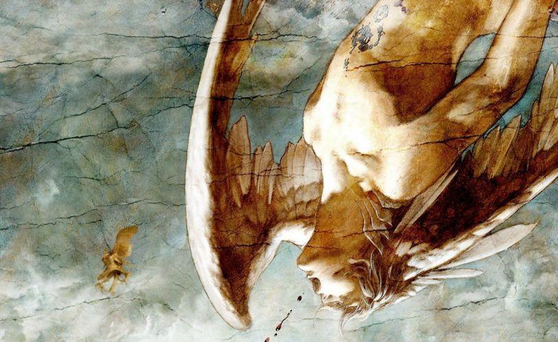 Arts fresco blood crack man falls angel wings upside down wallpaper
