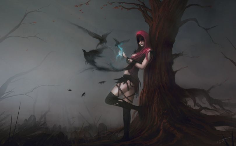 Arts morrigan dragon age magic crows birds girls wallpaper