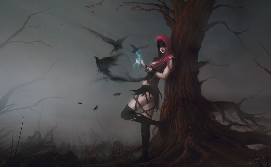 Arts morrigan dragon age magic crows birds girls wallpaper