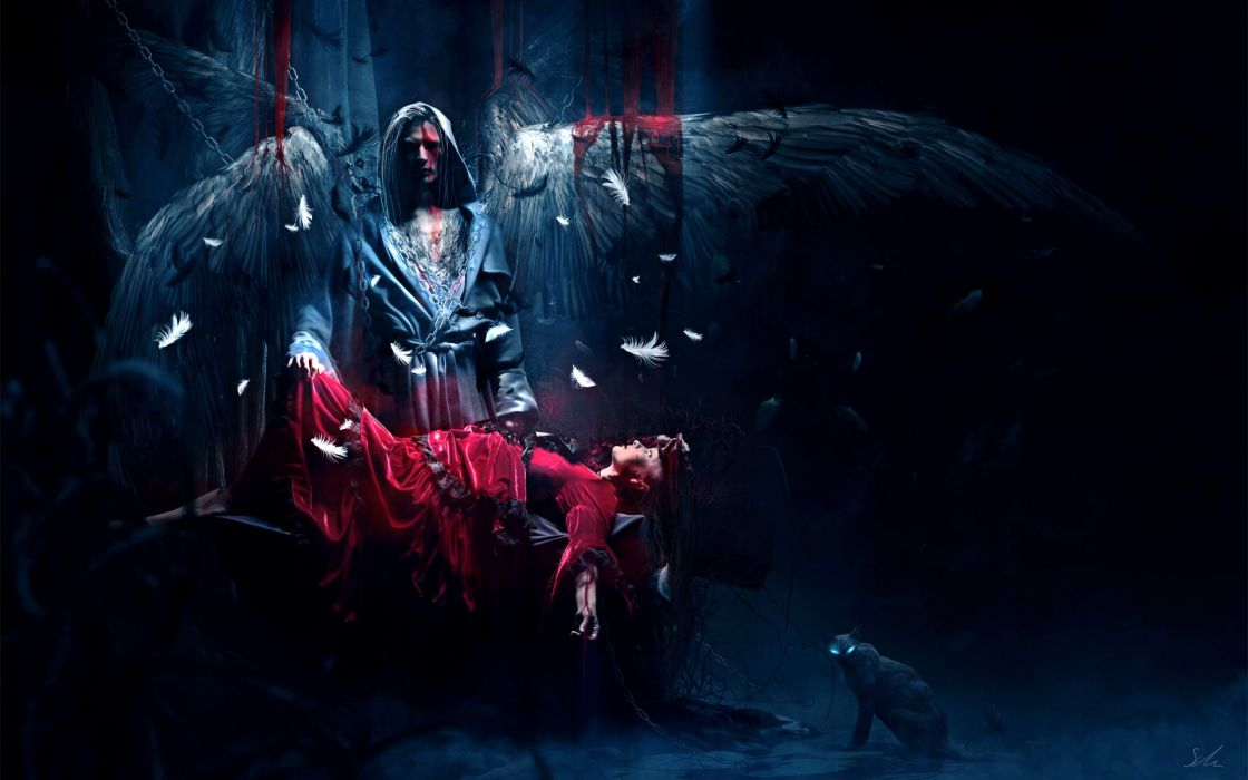 Arts sacrifice blood dark red dress wings girl angel feathers girls wallpaper
