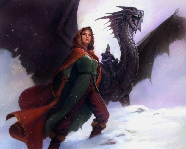 Arts warrior fantasy adventure rider dragon girls wallpaper