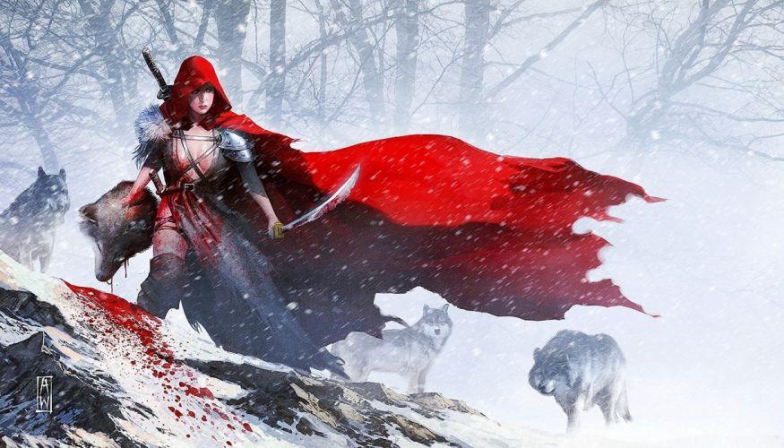 Arts warrior sword red hood wolves snow girls wallpaper