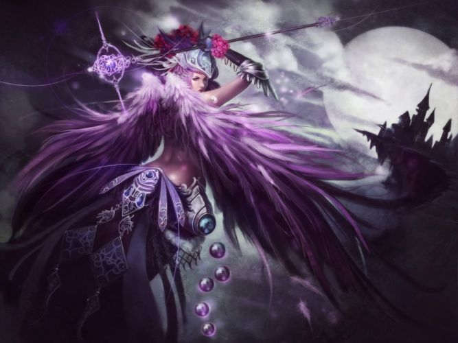 Arts warriors feathers castle moon magic wings night staff girls wallpaper