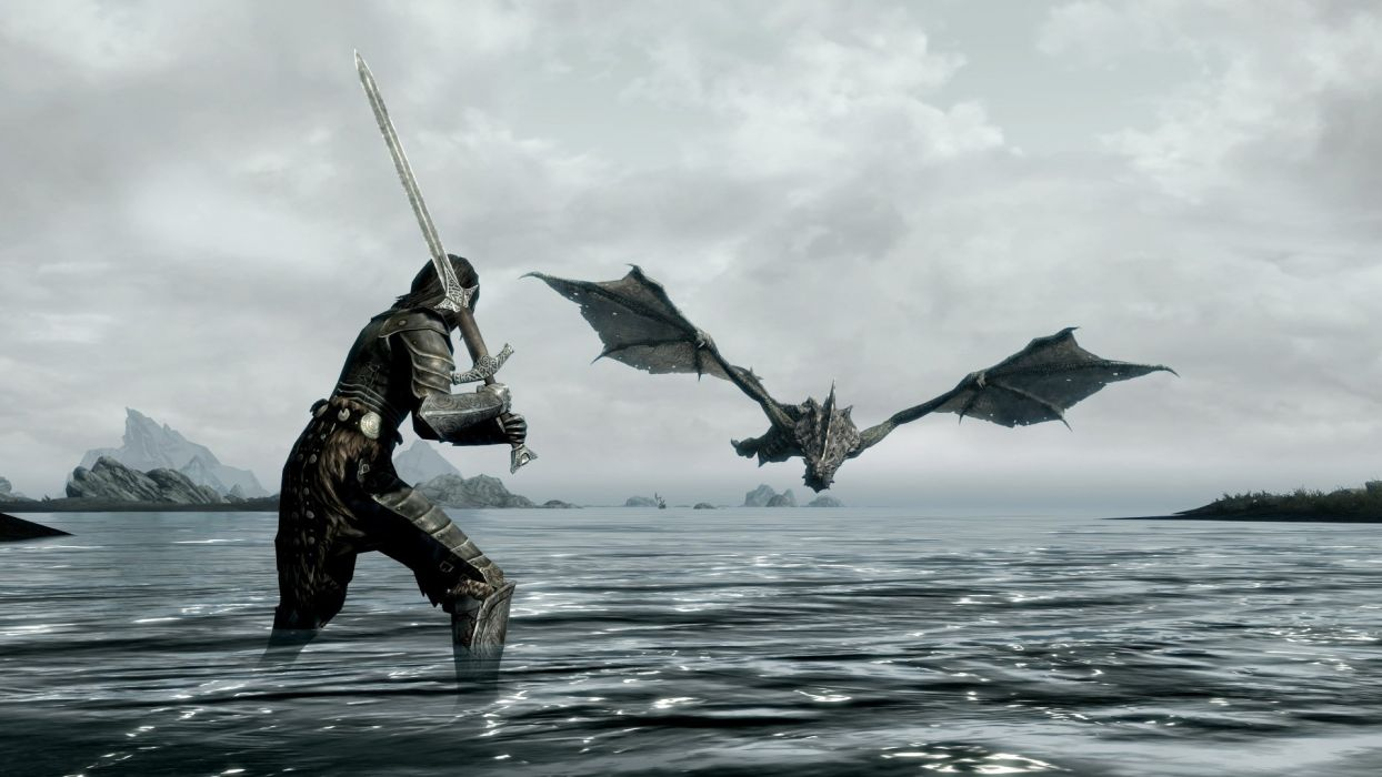 Games dragon sea elder scrolls skyrim sword warrior wallpaper