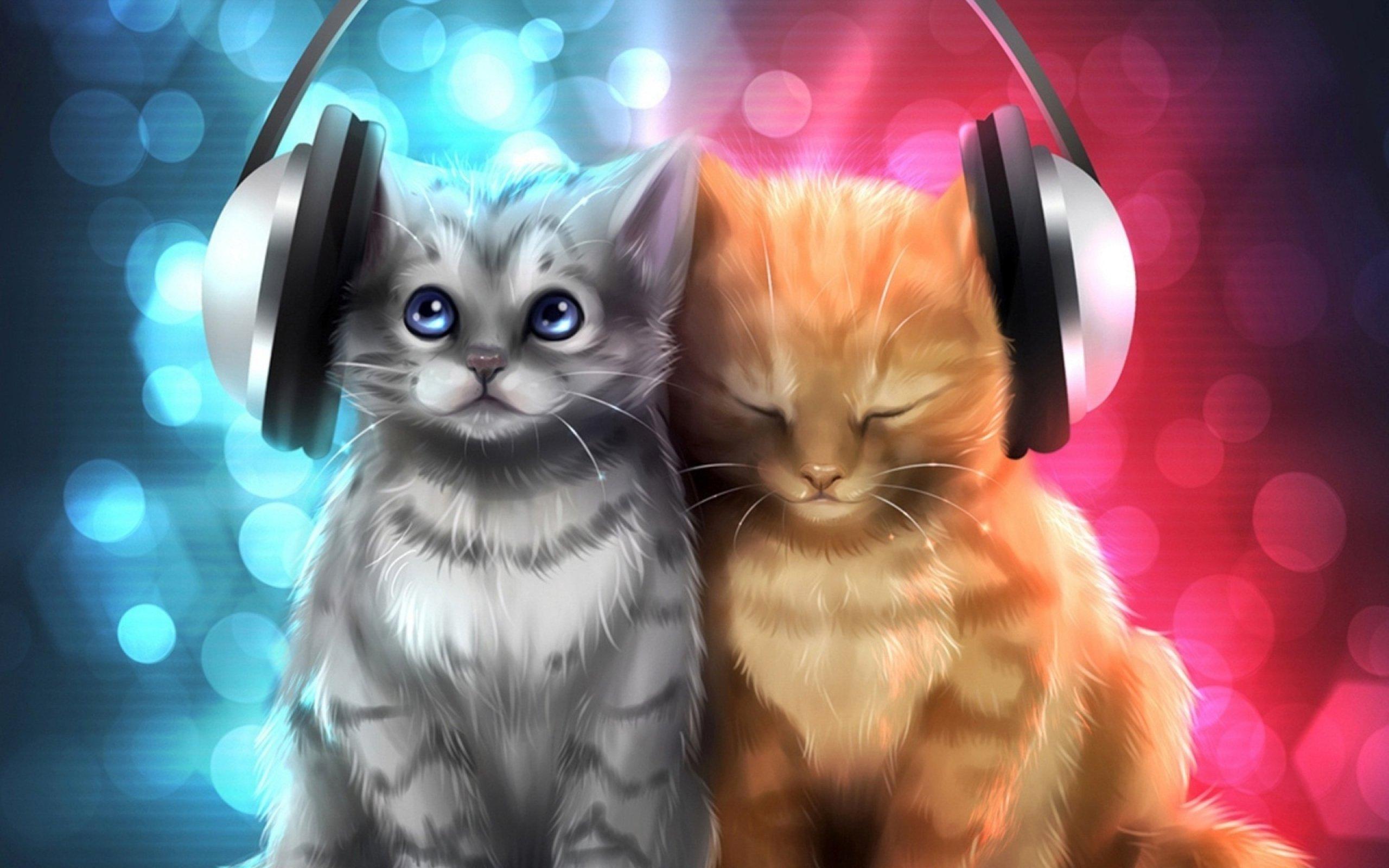 Hd Animal Wallpapers Hd Music Wallpapers: Animal Cat Cats Artwork Art Kitten Headphones Wallpaper