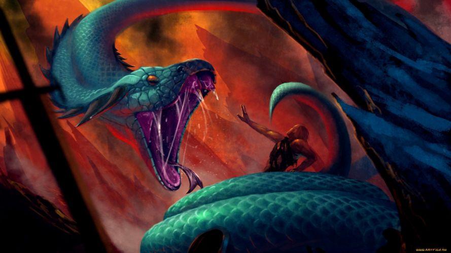 fantasy art artwork creature monster serpent snake dragon d wallpaper