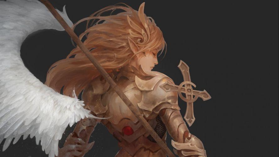 fantasy art artwork angel warrior wallpaper