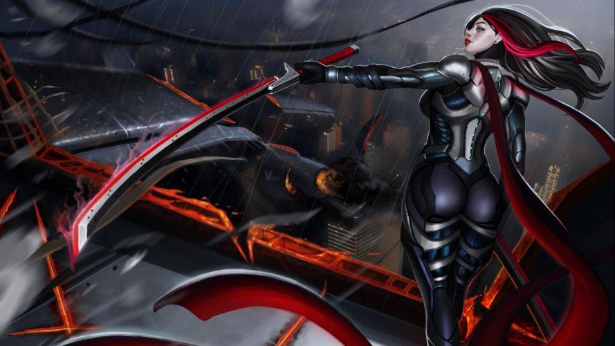 fantasy art artwork women woman female girl girls warrior weapon sword katana d wallpaper