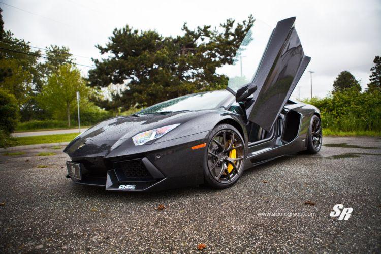 Lamborghini aventador black cars pur wheels tuning wallpaper