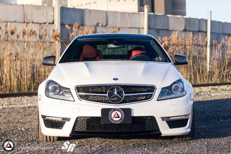 Mercedes C63 AMG white cars pur wheels tuning wallpaper