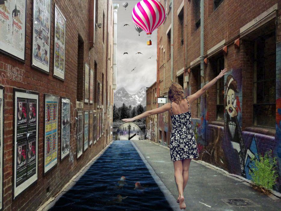 surreal ariel time river birds balon lady wallpaper