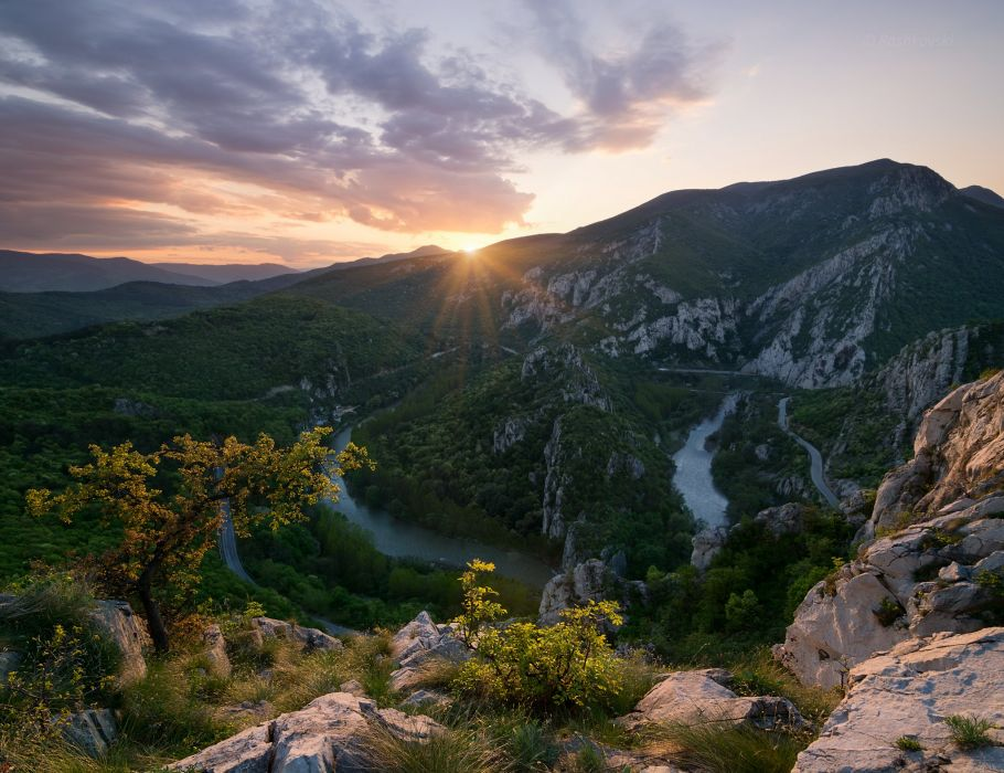Mountain Ridge Defile River Spring Balcans Rock Sunset Sun Bulgaria wallpaper