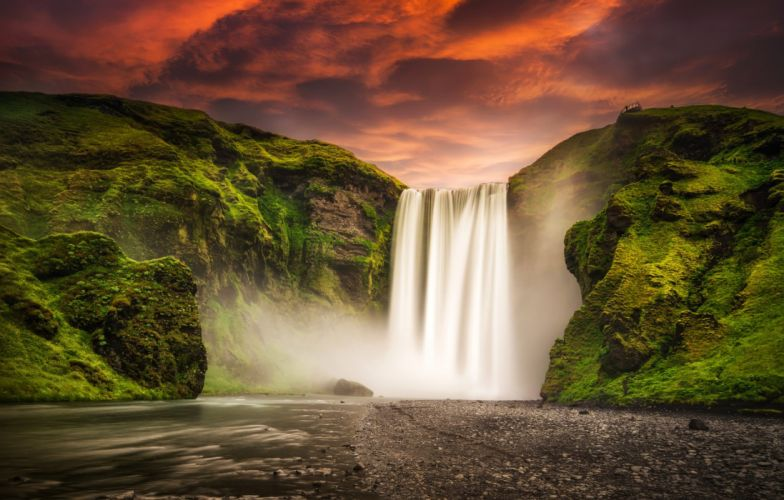 Sunset Glow Iceland Waterfal Skogafoss Waterfall wallpaper
