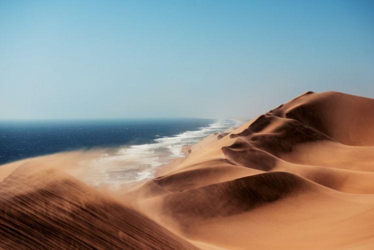 Atlantic Africa Namib Desert Dune Coast Ocean Desert wallpaper