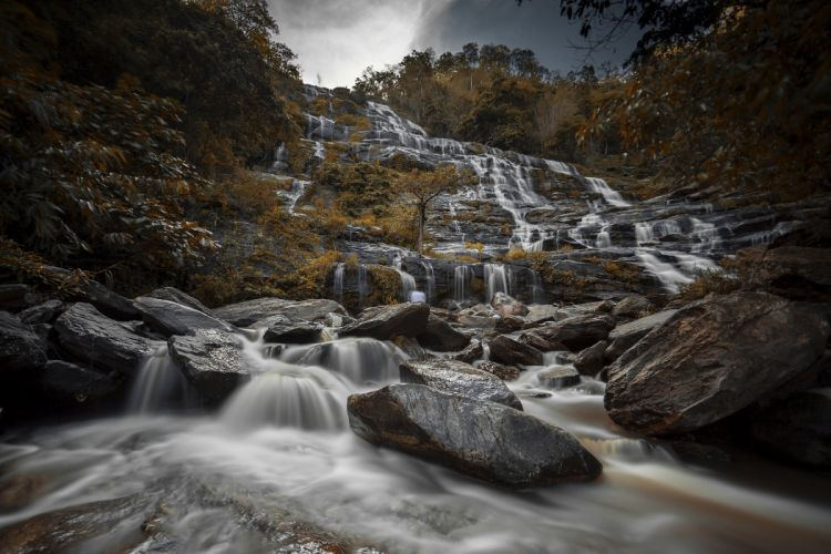 Waterfall Autumn Boulder Stream Nature Thailand Travel wallpaper