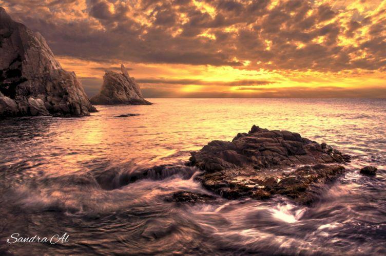 Glow Rock Spain Gerona Sea Sunset ocean wallpaper