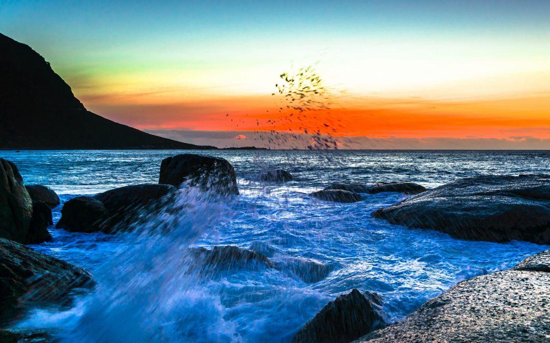 Ocean Rock Seascape Sunset Nature sea waves wallpaper