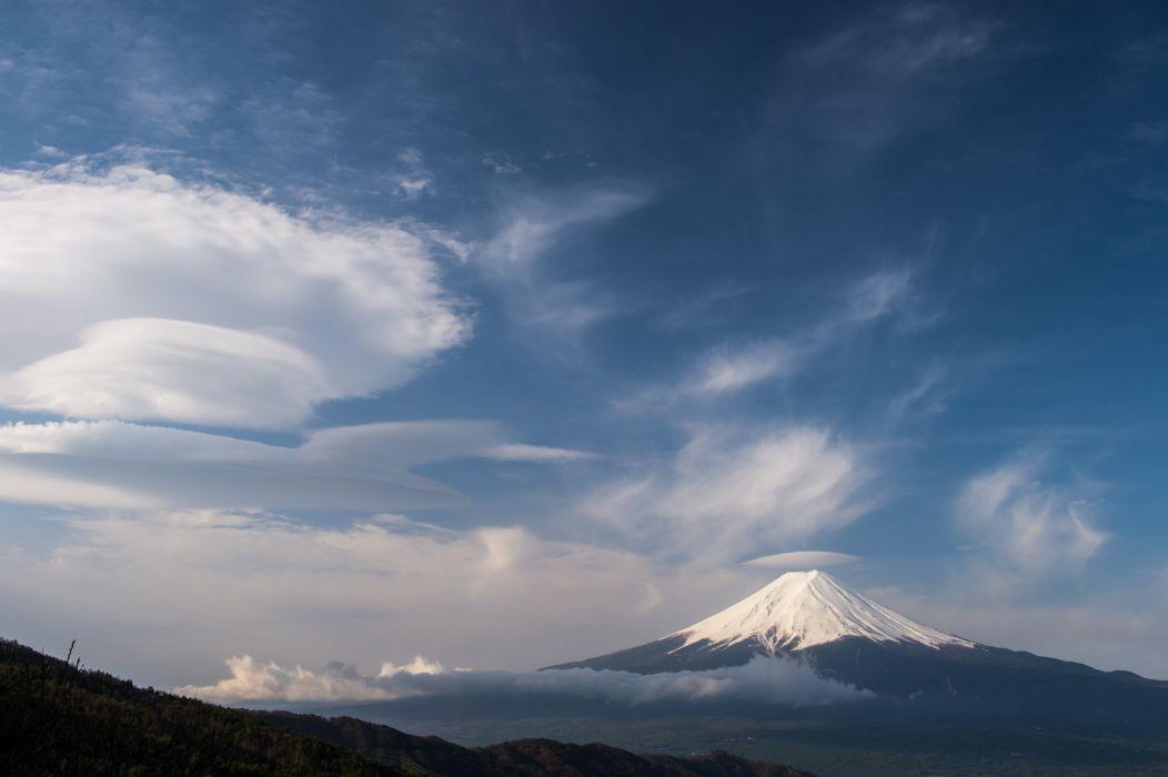 Stratovolcano Japan Cloud Sky Yamanashi Prefecture Volcano Mount Fuji wallpaper