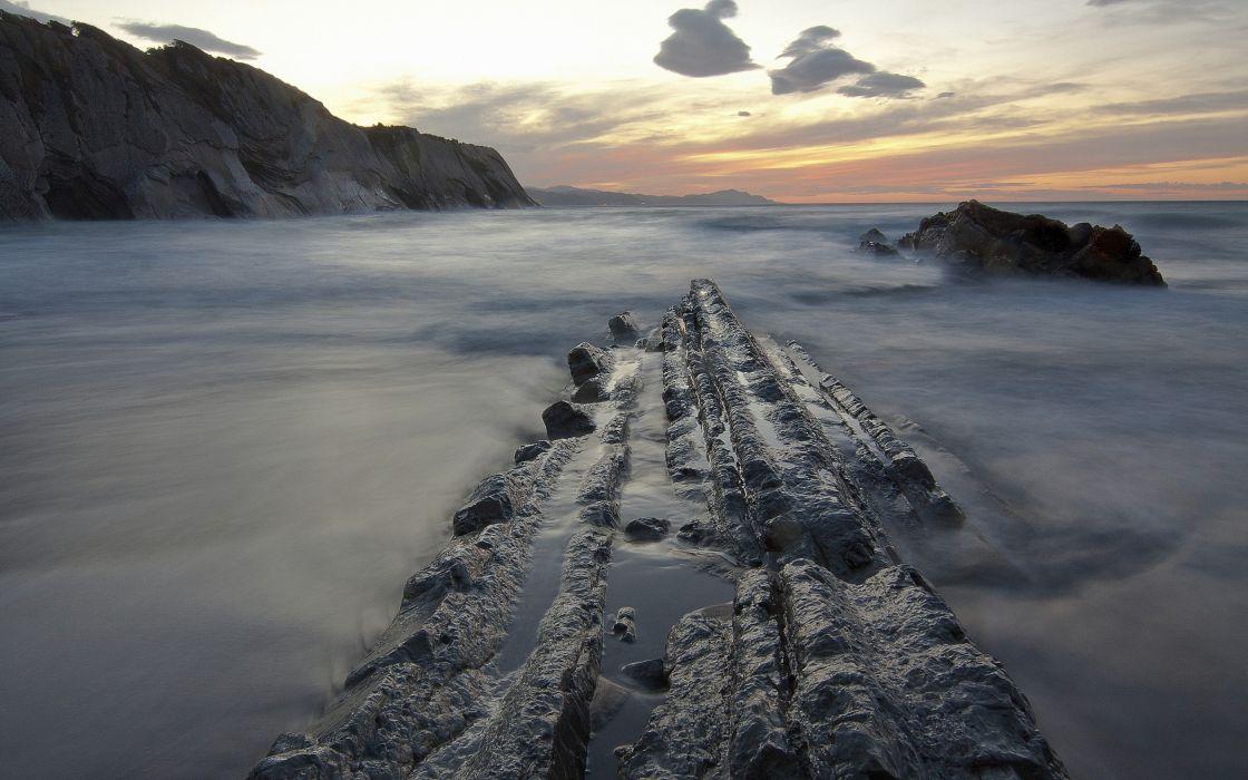Cliff Seascape Ocean Rock Nature sea sunset sunrise wallpaper