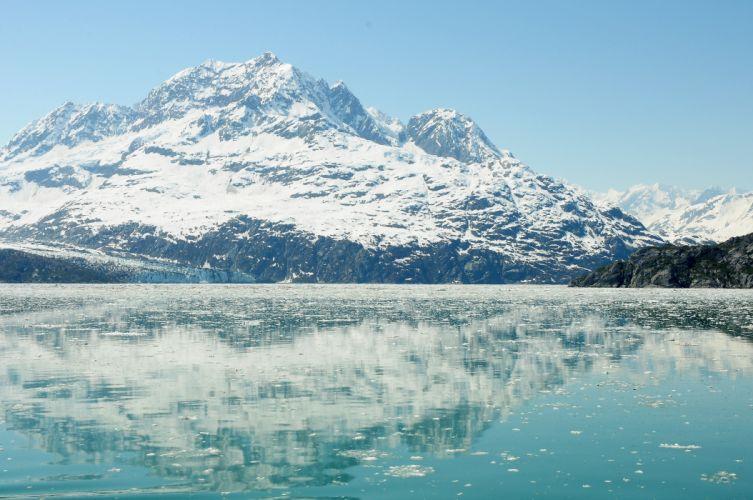 Winter Reflection Mountain Water Nature ocean sea ice wallpaper