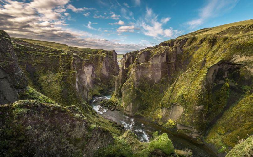 Cliff Iceland Landscape River Canyon wallpaper