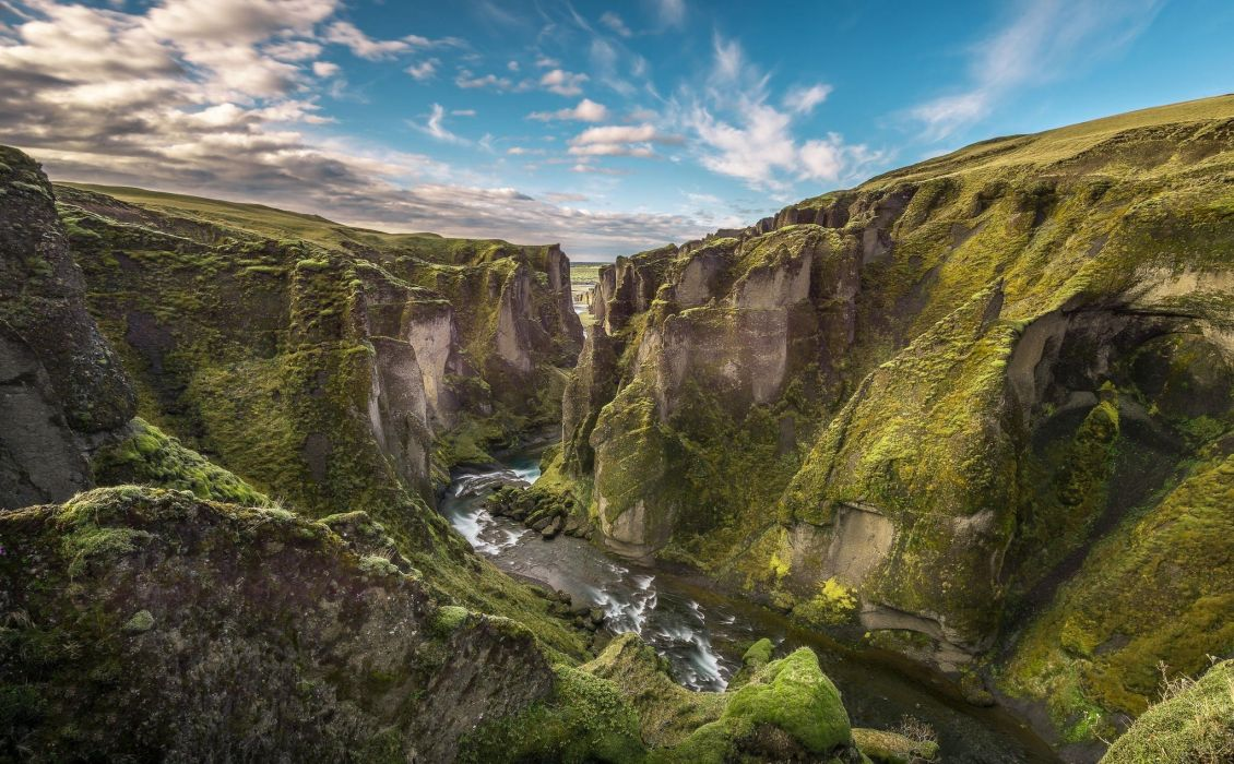 Cliff Iceland Landscape River Canyon wallpaper