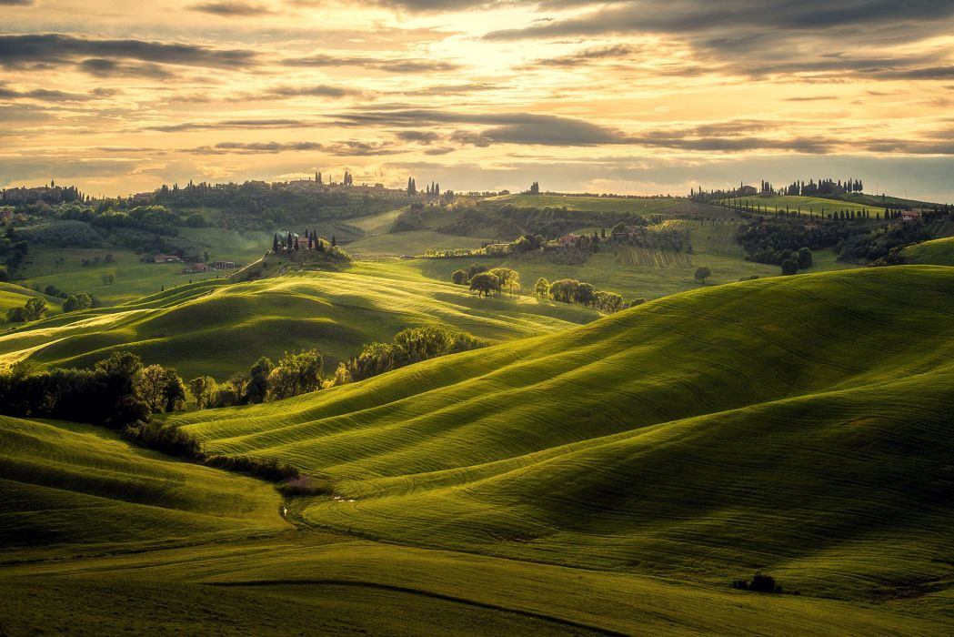 Clouds Green Tuscany Italy Landscape Nature wallpaper