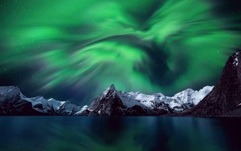 Aurora Borealis Norway Mountain Stars Sky Arctic Scandinavia Lofoten Islands Northern Lights wallpaper