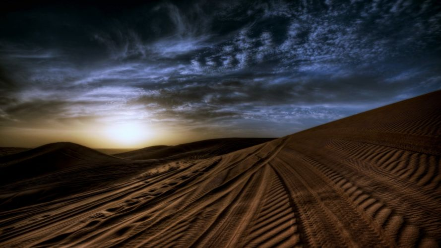 Desert Sand Sunset Dune Sky Cloud wallpaper