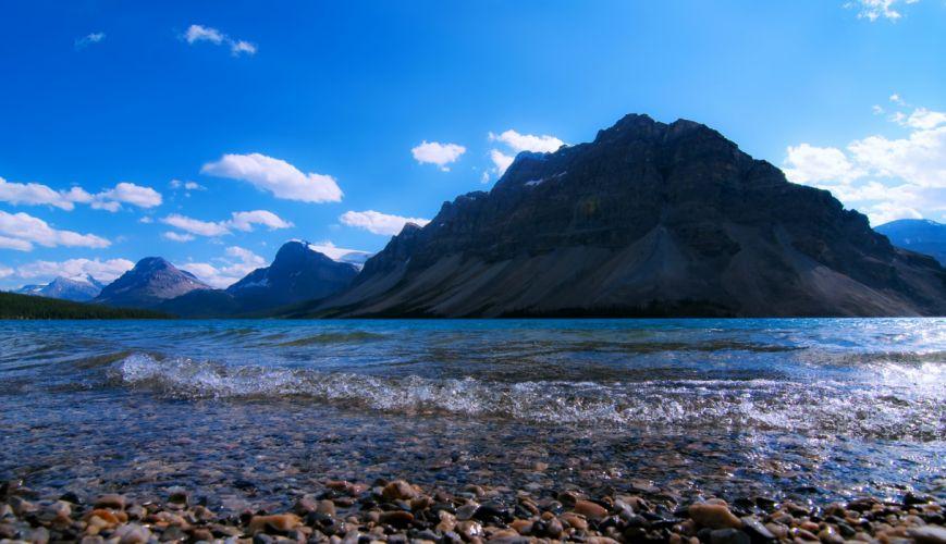 Mountain Lake Earth Nature Landscape Stone waves wallpaper