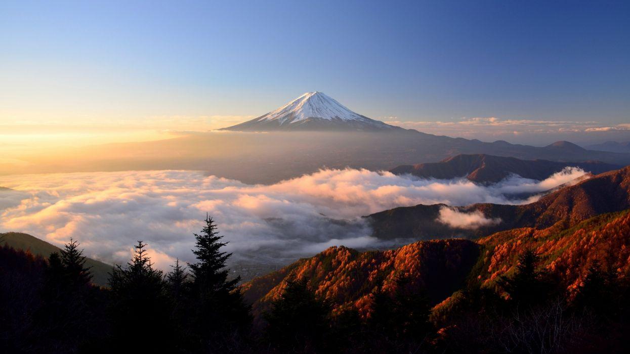 Sunrise Morning Landscape Stratovolcano Volcano Japan Mount Fuji clouds wallpaper