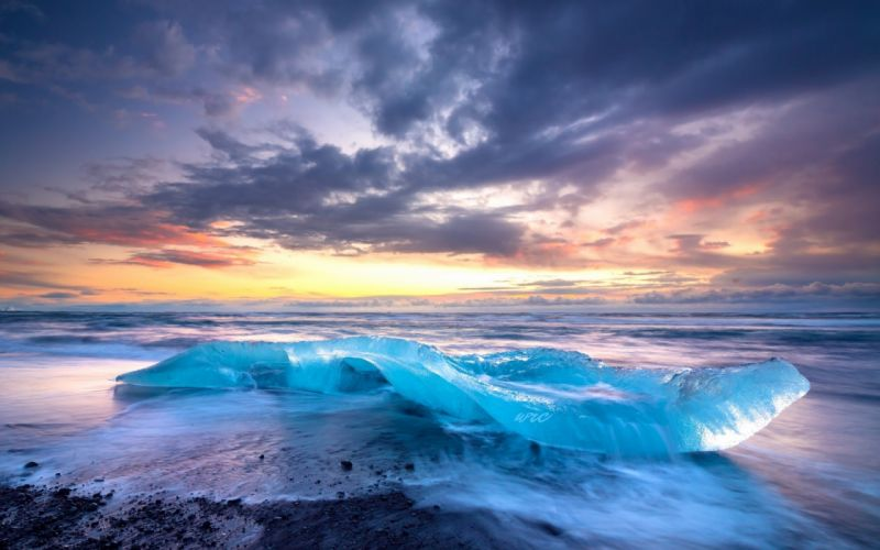 Sunset Cloud Sky Ice Beach Landscape Nature ocean sea waves wallpaper