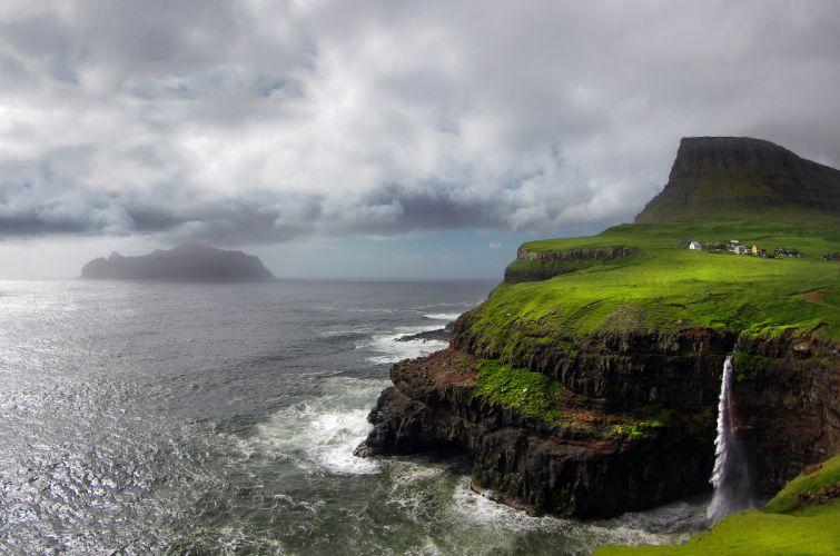 Sea Cloud Village Coast Shore GAAsadalur Arctic Scandinavia Waterfall Landscape Denmark Faroe Islands wallpaper