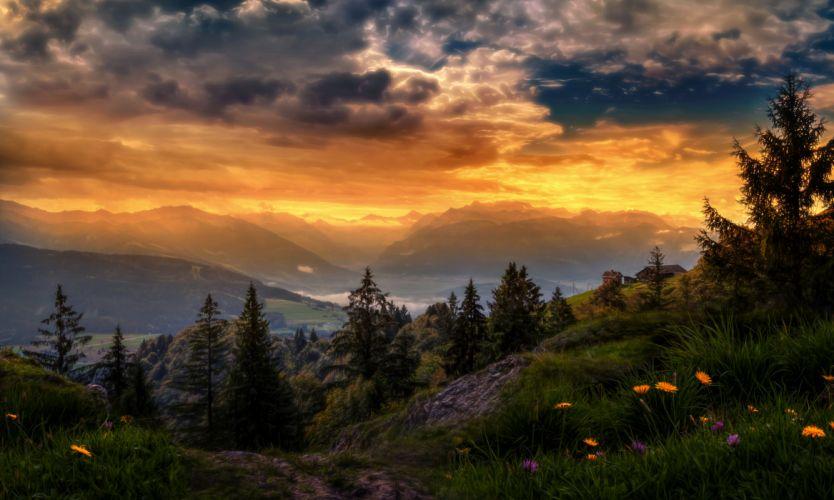 Sunshine Switzerland Light Flower Valley Glow Countryside Mountain Sunset Sundown Landscape Cloud wallpaper