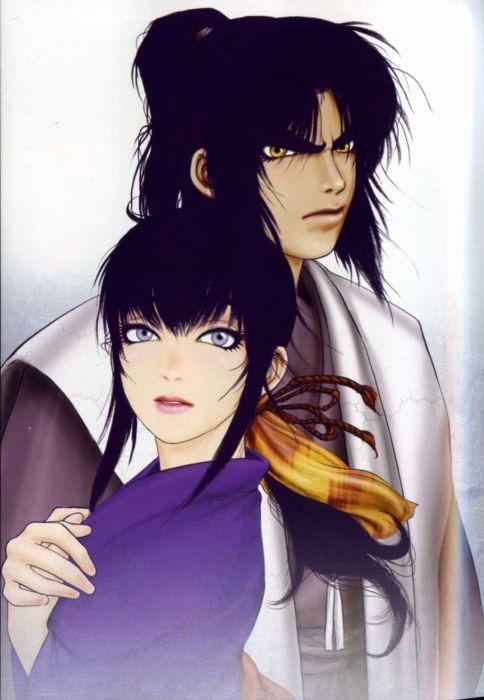 Basilisk Series Gennosuke Kouga Character Oboro Iga anime couple kimono girl wallpaper