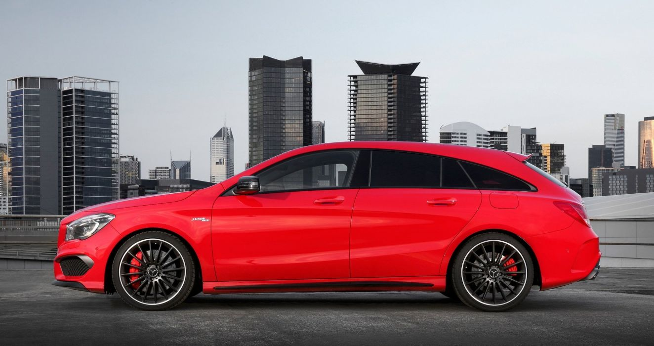 Mercedes AMG CLA-45 Shooting Brake wagon AU-spec X117 red 2015 wallpaper