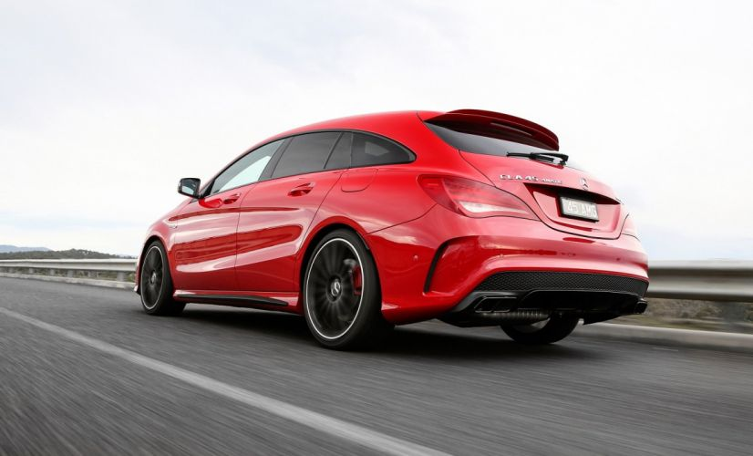 Mercedes AMG CLA-45 Shooting Brake wagon AU-spec X117 red 2015 wallpaper